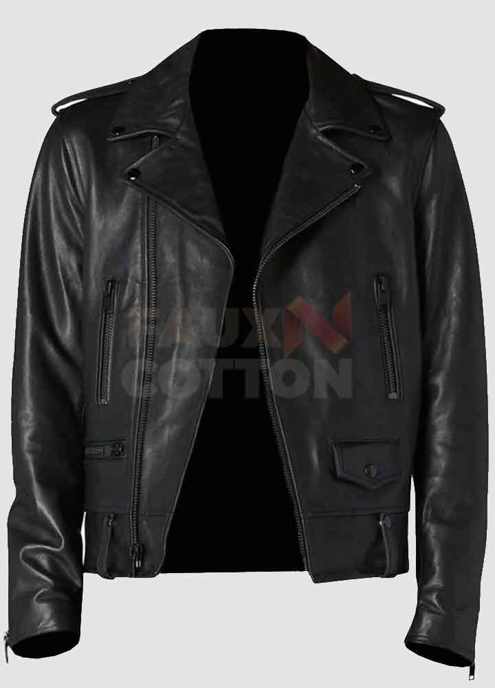 Men's Classic Black Motorcycle Leather Jacket