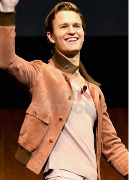 Ansel Elgort  CinemaCon Brown Suede Jacket