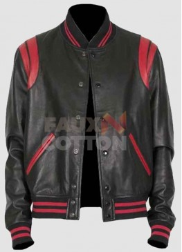 Men's Black Bomber With Red Stripes Leather Jacket