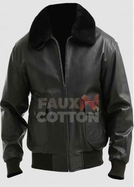 Mens G1 Black Bomber Fur Collar Leather Jacket