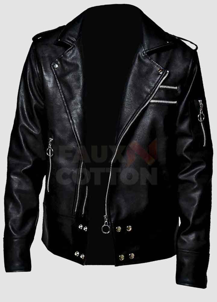 Men's Black Vegan Biker Leather Jacket