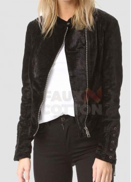Women's Lacey Black Velvet Jacket