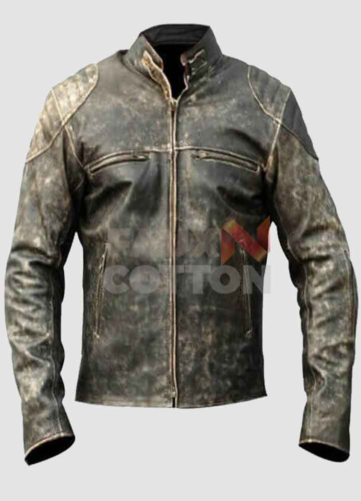 Men's Distressed Cafe Racer Hooligan Leather Jacket