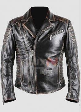 Men's Distressed Motorcycle Leather Jacket