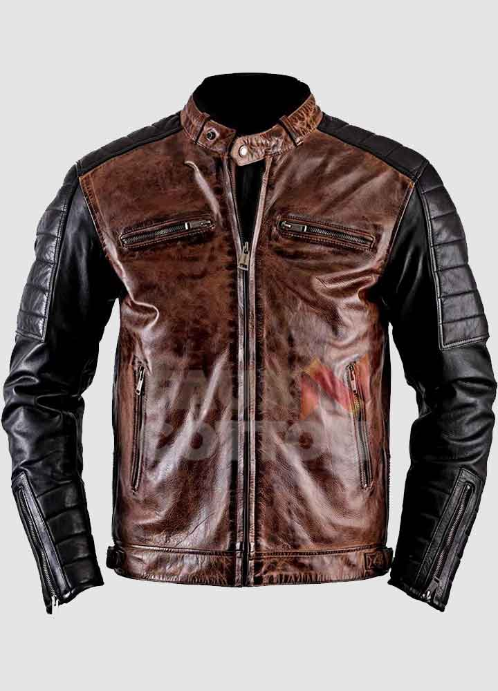 Men's Vintage Cafe Racer Leather Jacket