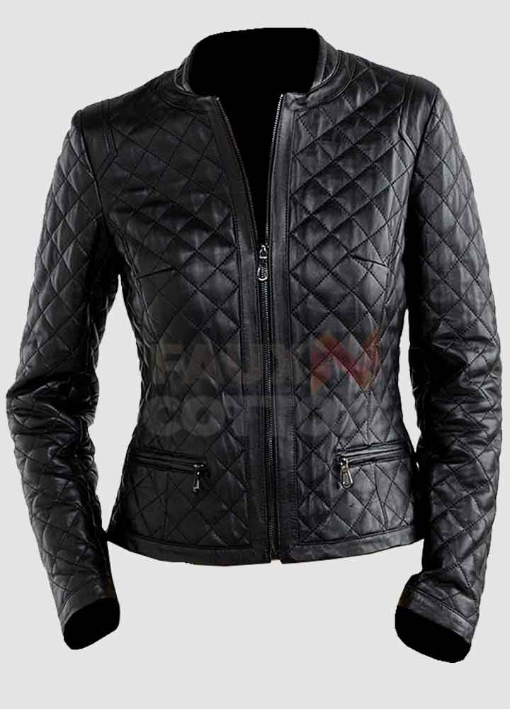 Black Women's Quilted Leather Jacket