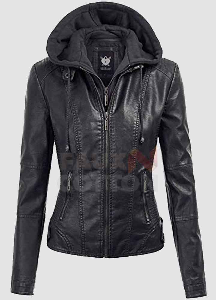 Black Women's Hoodie Leather Jacket