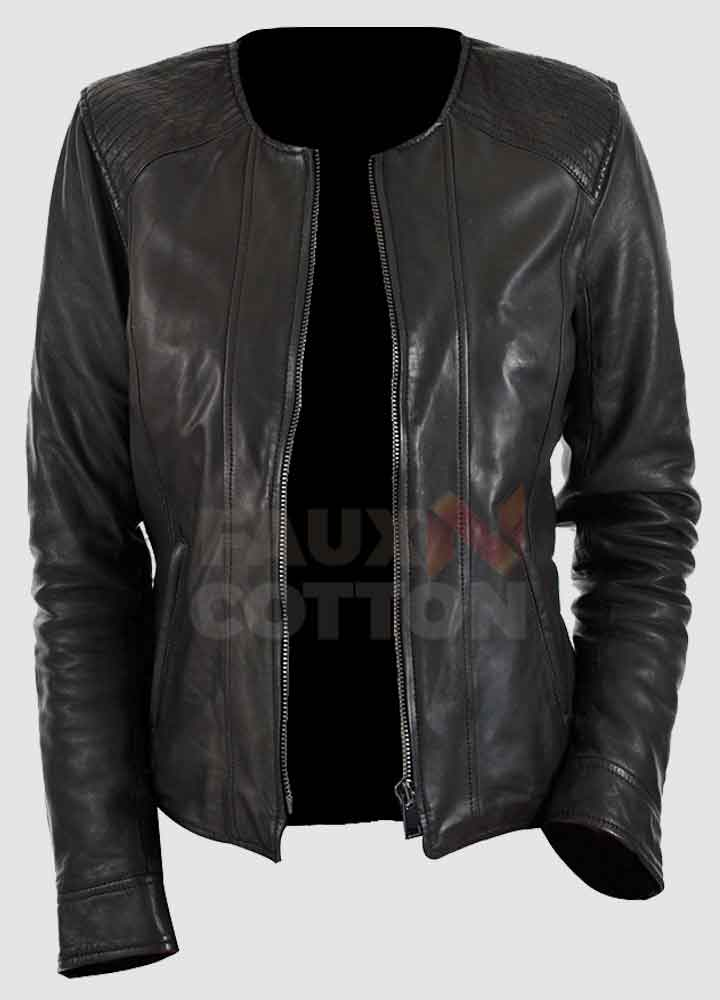 Collarles Black Women's Slim Fit Leather Jacket