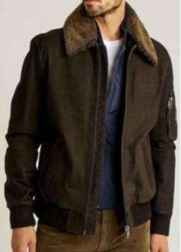 Men's Bomber Fur Collar Dark Brown Jacket