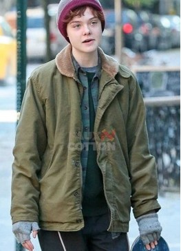 About Ray Elle Fanning Green Fur Collar Jacket