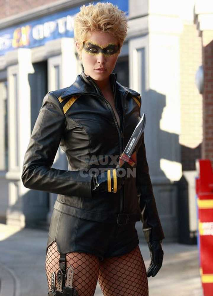 Alaina Huffman Smallville Black Canary Leather Jacket