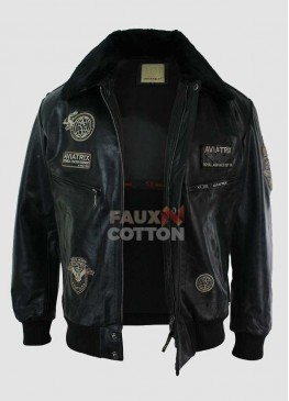 Aviatrix Mens Black Real Leather Bomber Aviator Pilot Jacket