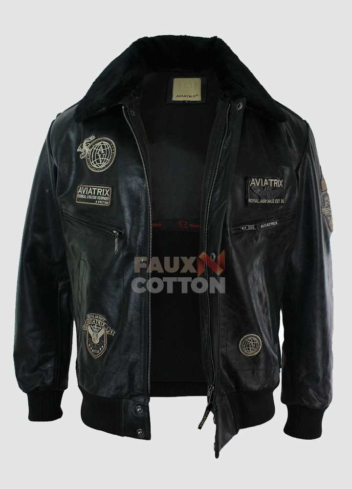 Aviatrix Mans Black Real Leather Bomber Aviator Pilot Jacket