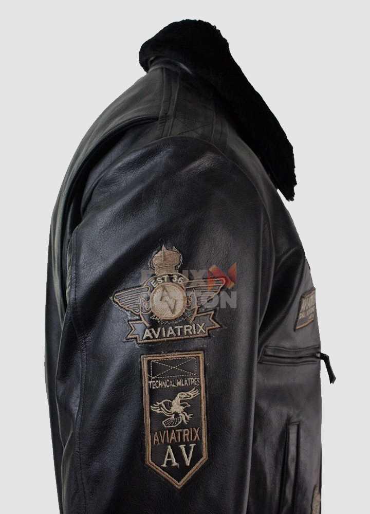 Aviatrix Mens Black Real Leather Bomber Aviator Pilot Jacket