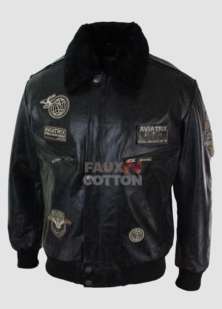 Aviatrix Mans Black Real Leather Bomber Aviator Pilot Jacket