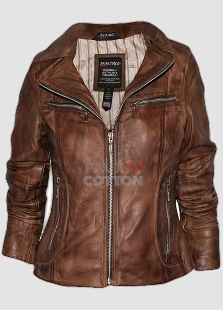 Aviatrix Style Women Brown Leather Jacket