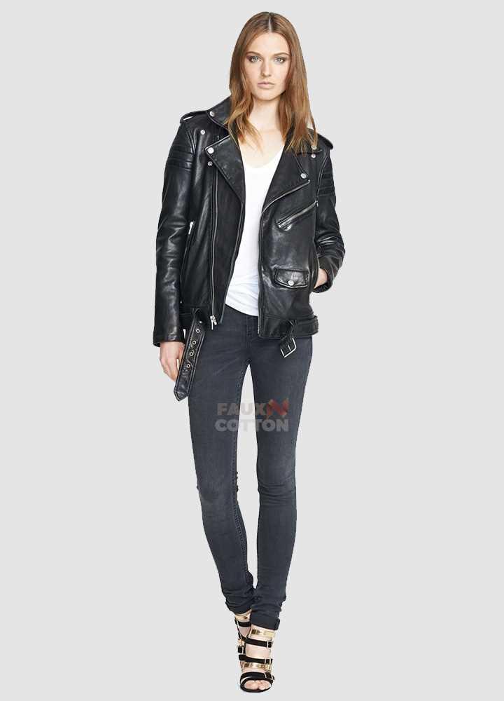 Women Slim Fit Black Lambskin Leather Biker Jacket