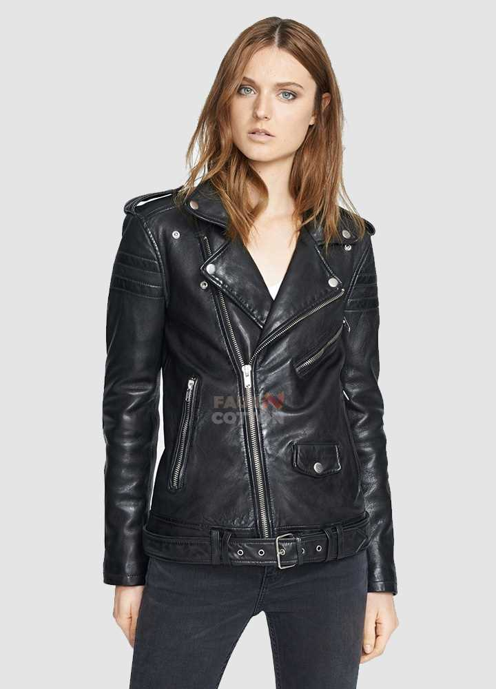 Women Slim Fit Black Lambskin Leather Biker Jacket