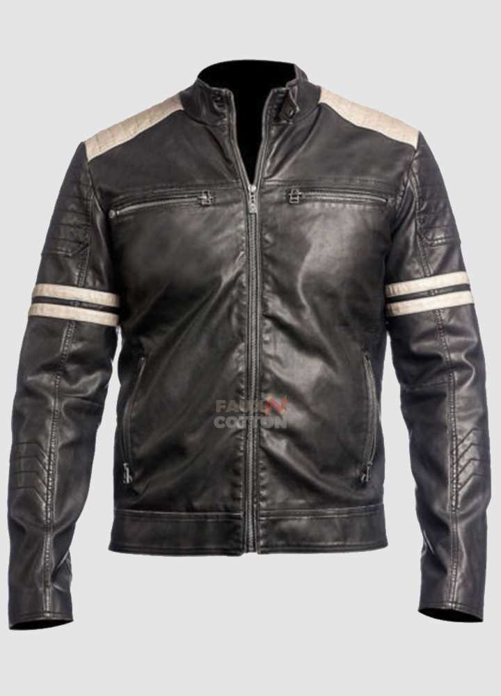 Fight Club Mayhem Cafe Racer Black Real Leather Jacket