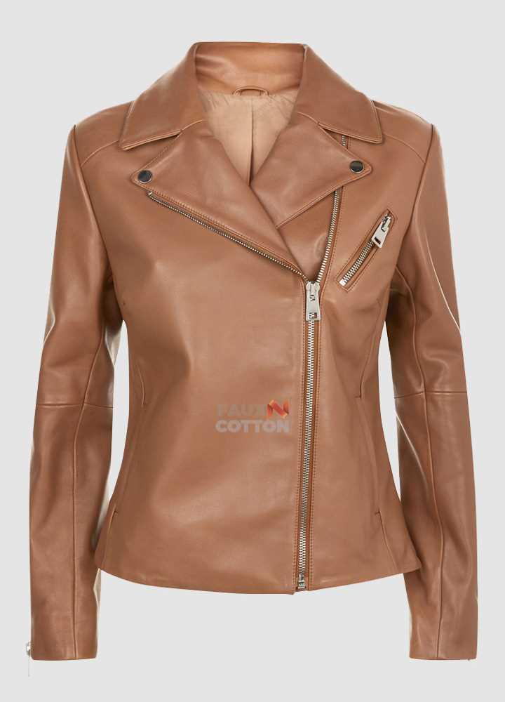 Camel Brown Ladies Biker Style Leather Jacket