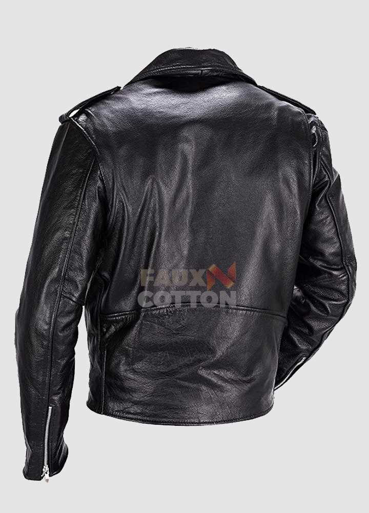 Men's Classic Cowhide Leather Motorbike Jacket