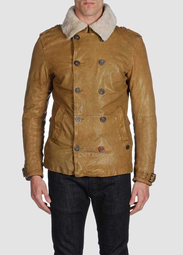 Diesel Langgai Tan Yellow Leather Jacket
