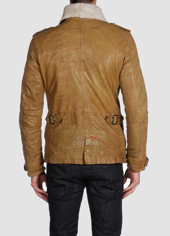 Diesel Langgai Tan Yellow Leather Jacket