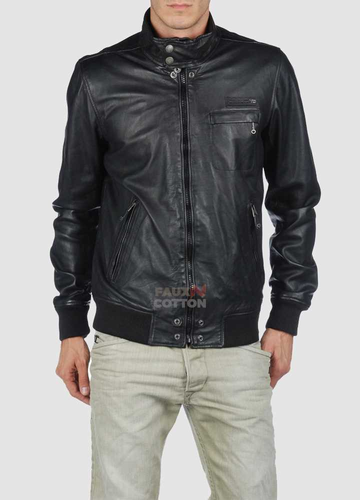 Diesel Lion Black Slim Fit Leather Jacket