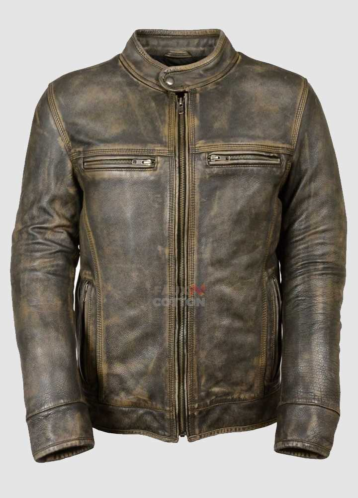 Cafe Racer Men's Distressed Wax -Jacket