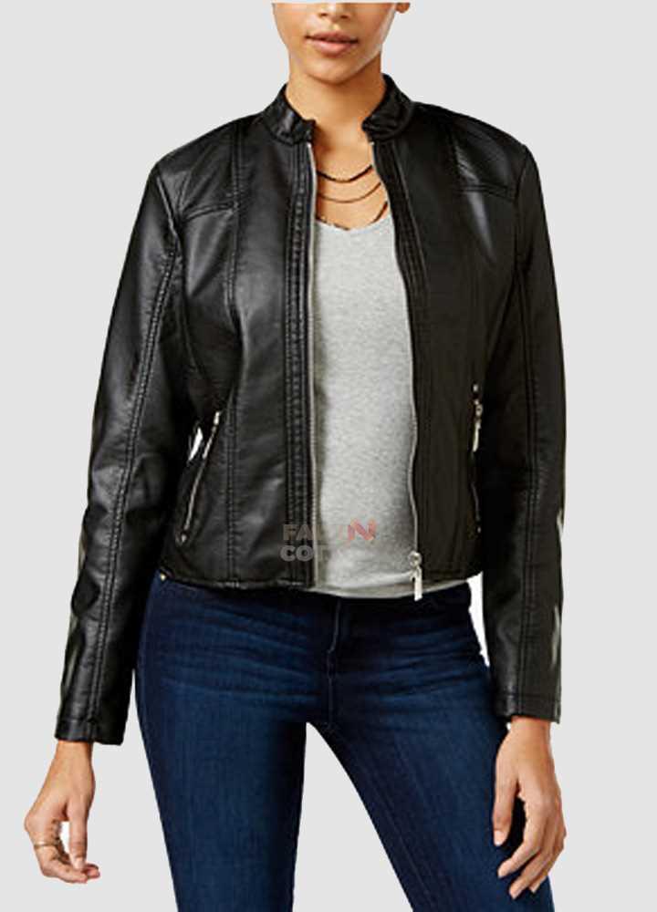 Jou Jou Juniors Perforated Faux Leather Jacket