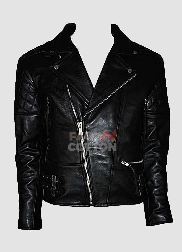 Men/'s Brando Classic Biker Black /& White Vintage Motorcycle Real Leather Jacket