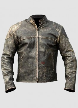 Mens Antique Retro Biker Distressed Leather Jacket