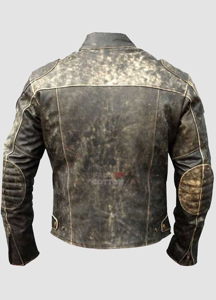 Mens Green Antique Retro Biker Distressed Leather Jacket