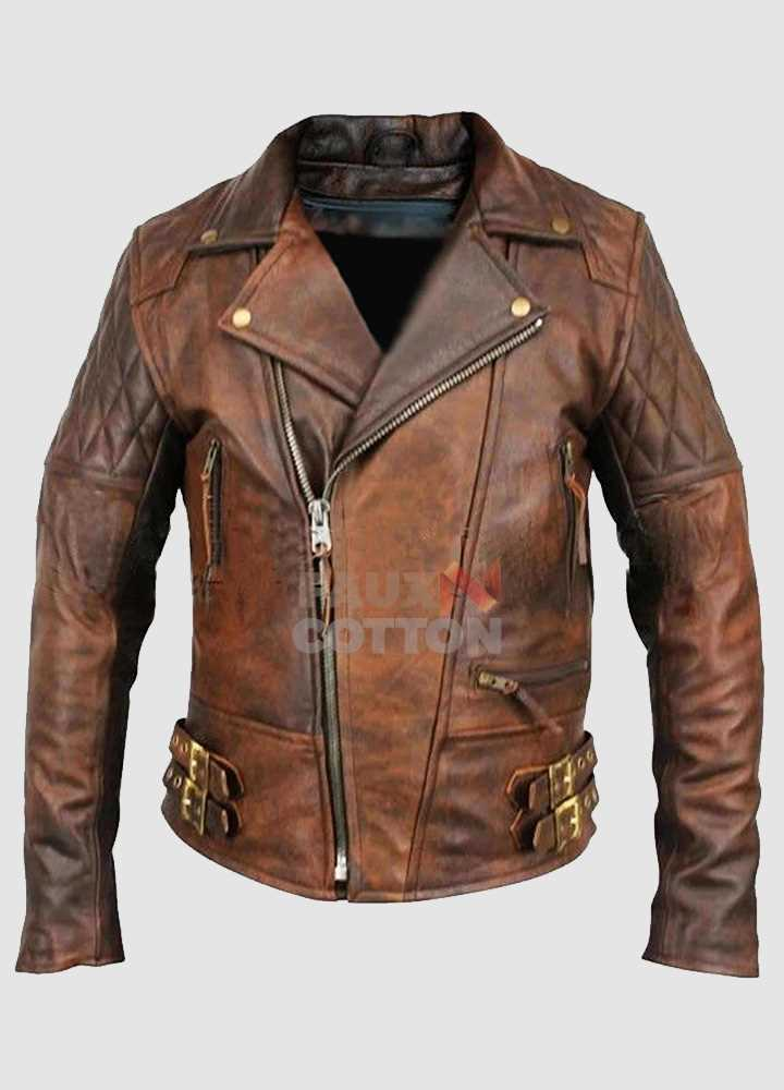 Mens Biker Classic Diamond Motorcycle Distressed Vintage Leather Jacket