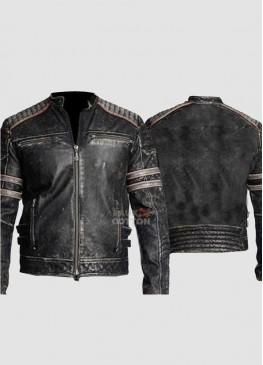 Vintage Cafe Racer Distressed Black Retro Biker Jacket