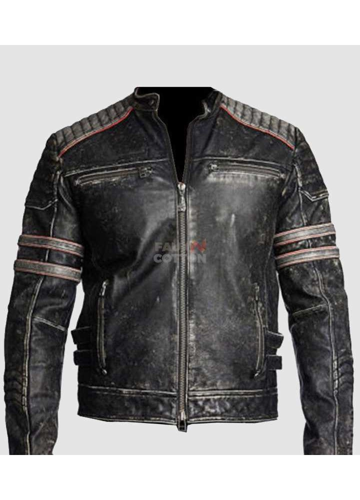 Vintage Cafe Racer Distressed Black Retro Biker Jacket