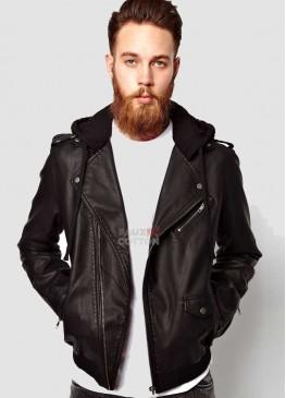 Men black jersey hooded black faux jacket