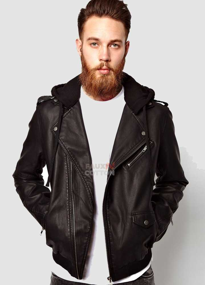 Men black jersey hooded black faux jacket