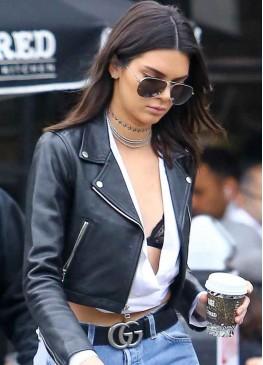 Kendall Jenner Street Style Black Leather Jacket