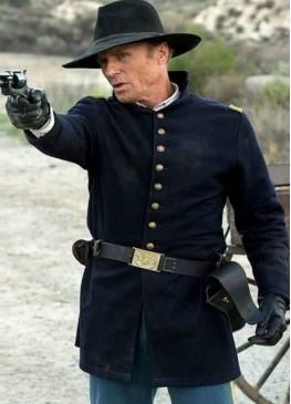 Man in Black Westworld Blue Suede Leather Coat