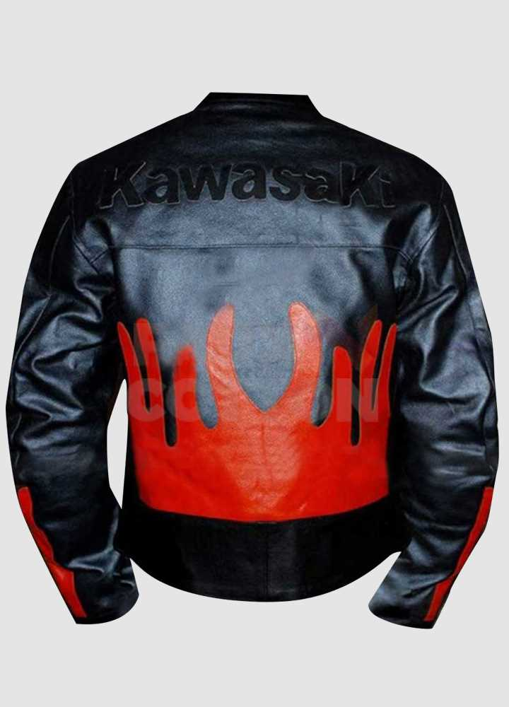 Kawasaki Black & Orange Leather Jacket
