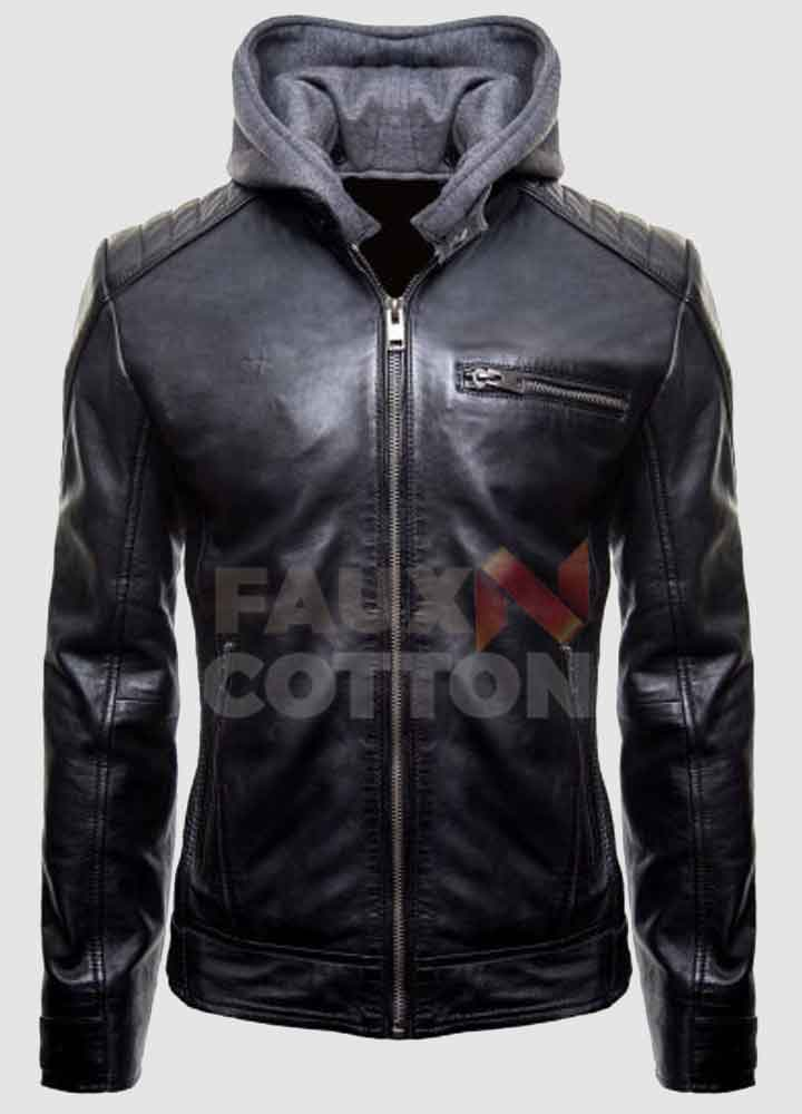 Batman Logo Biker Leather Hoodie Jacket