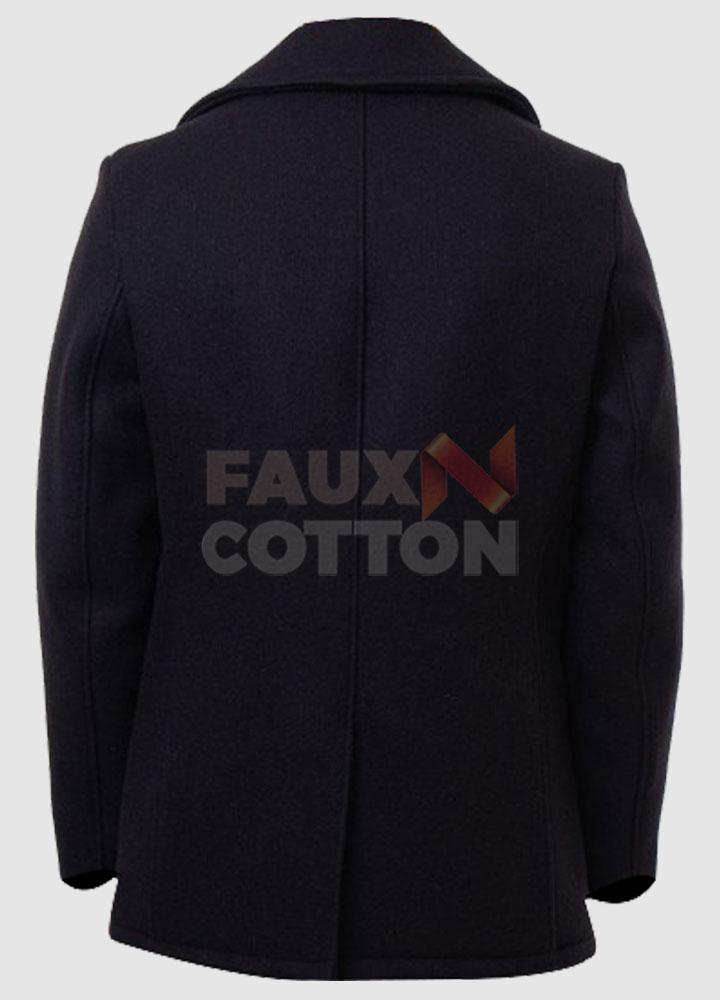Billions Damian Lewis Black Pea Coat