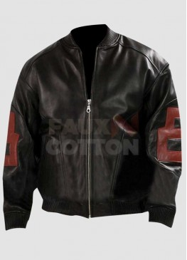 8 Ball Mens Black Bomber Leather Jacket