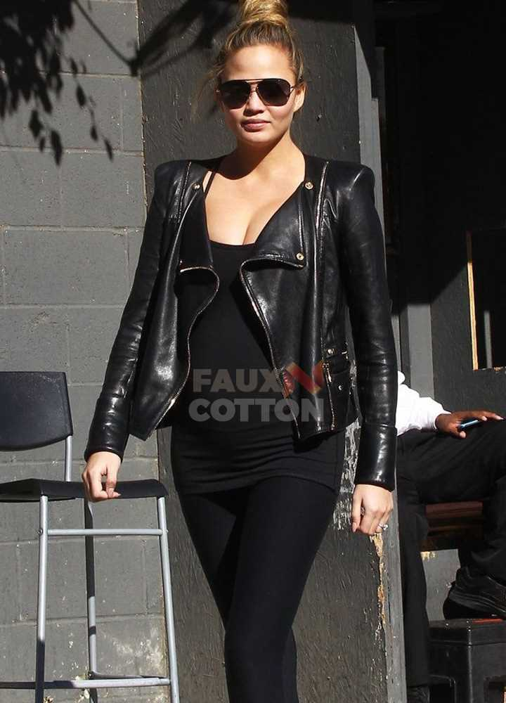 Chrissy Teigen Sporty Black Leather Jacket