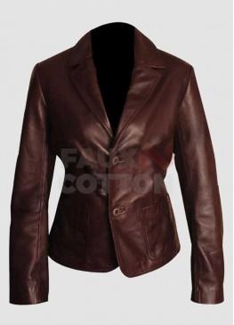Women Dark Brown Slim Fit Leather Blazer