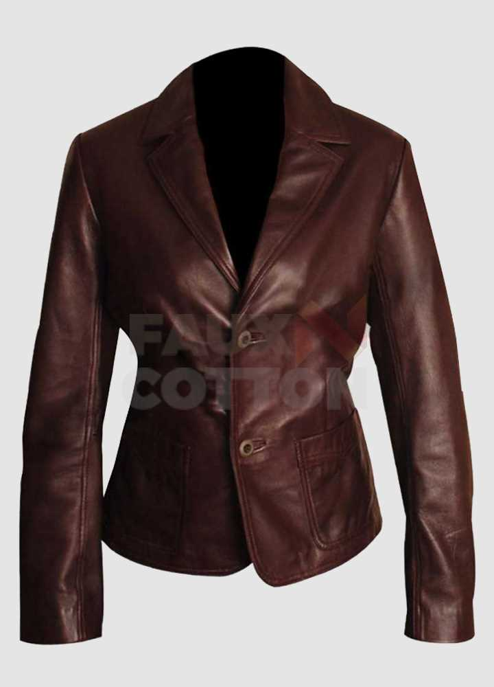 Women Dark Brown Slim Fit Leather Blazer
