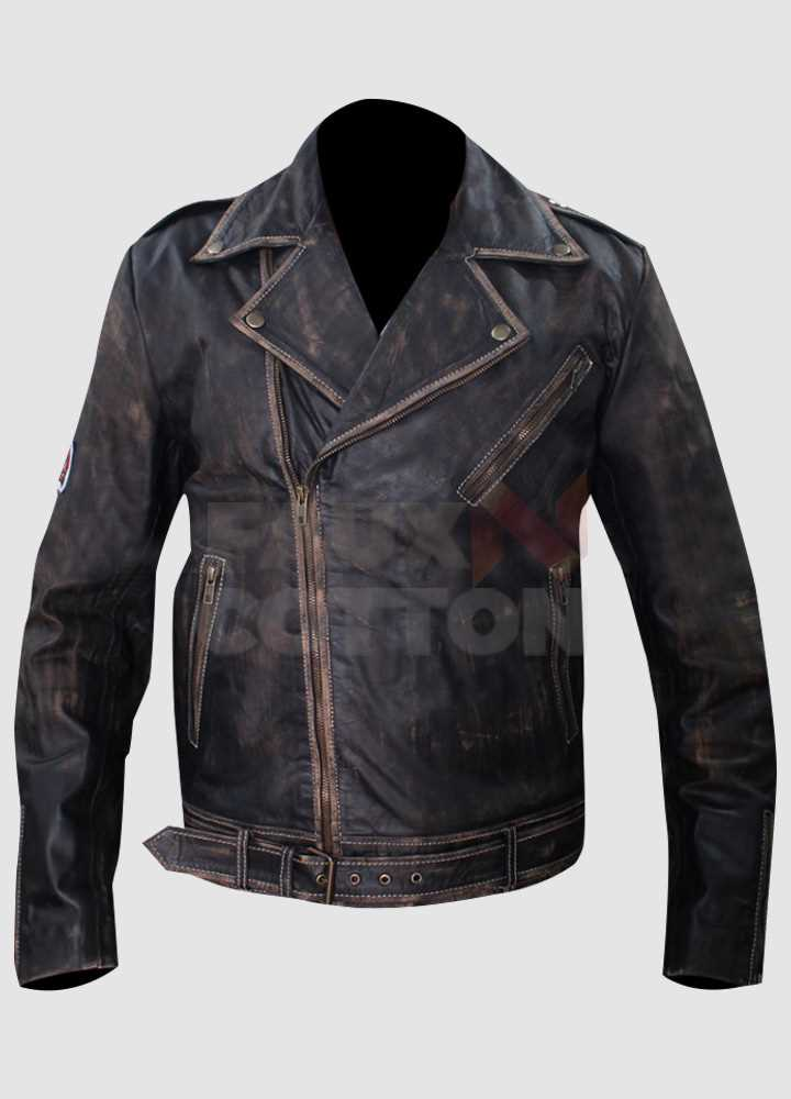 Johnny Depp Tokyo Green Distressed Motorcycle Jacket