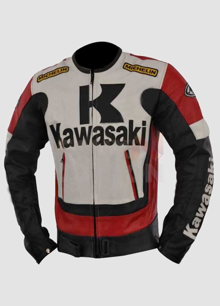 Kawasaki Ninja Red and Black Motorcycle Leather Jacket