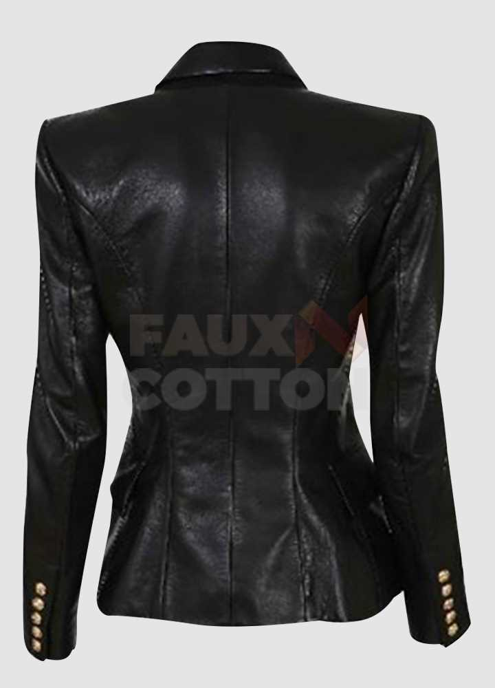 Kim Kardashian Double Breasted Black Leather Blazer